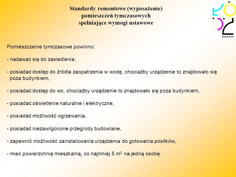 Standardy remontowe (wyposażenie) pomieszczeń tymczasowych spełniające wymogi ustawowe Pomieszczenie tymczasowe powinno: - nadawać się do zasiedlenia,
