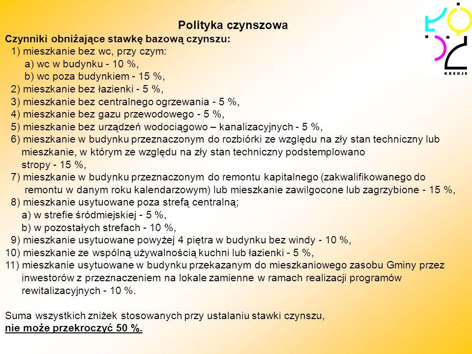 Polityka czynszowa Czynniki obniżające stawkę bazową czynszu: 1) mieszkanie bez wc, przy czym: a) wc w budynku - 10 %, b) wc poza budynkiem - 15 %, 2)