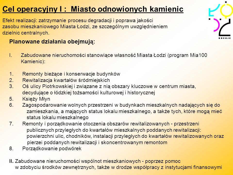 Cel operacyjny I : Miasto odnowionych kamienic Planowane działania obejmują: I.Zabudowane nieruchomości stanowiące własność Miasta Łodzi (program Mia1