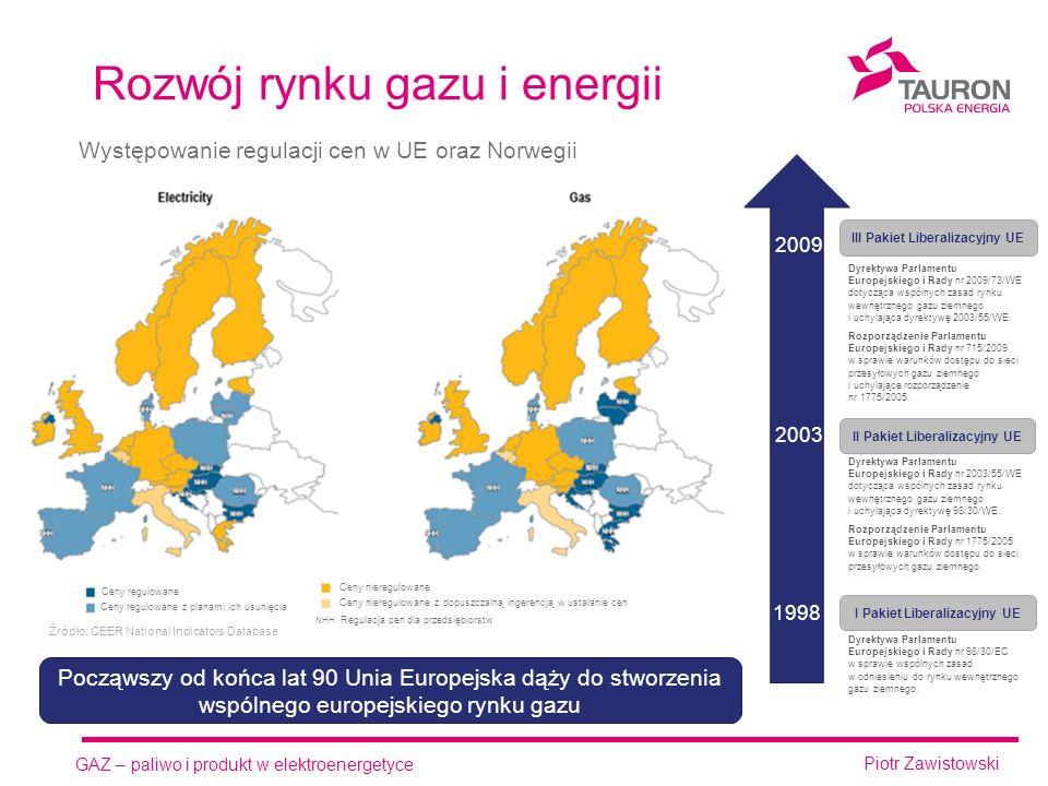 GAZ – paliwo i produkt w elektroenergetyce Piotr Zawistowski Rozwój rynku gazu i energii 2009 2003 1998 I Pakiet Liberalizacyjny UE II Pakiet Liberalizacyjny UE III Pakiet Liberalizacyjny UE Dyrektywa Parlamentu Europejskiego i Rady nr 98/30/EC w sprawie wspólnych zasad w odniesieniu do rynku wewnętrznego gazu ziemnego.