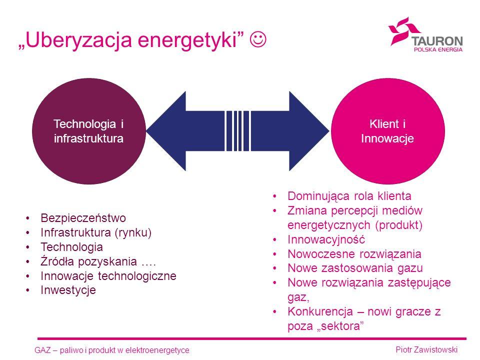 """GAZ – paliwo i produkt w elektroenergetyce Piotr Zawistowski """"Uberyzacja energetyki Technologia i infrastruktura Klient i Innowacje Dominująca rola klienta Zmiana percepcji mediów energetycznych (produkt) Innowacyjność Nowoczesne rozwiązania Nowe zastosowania gazu Nowe rozwiązania zastępujące gaz, Konkurencja – nowi gracze z poza """"sektora Bezpieczeństwo Infrastruktura (rynku) Technologia Źródła pozyskania …."""