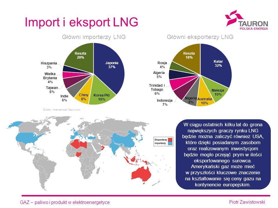 GAZ – paliwo i produkt w elektroenergetyce Piotr Zawistowski Import i eksport LNG W ciągu ostatnich kilku lat do grona największych graczy rynku LNG będzie można zaliczyć również USA, które dzięki posiadanym zasobom oraz realizowanym inwestycjom będzie mogło przejąć prym w ilości eksportowanego surowca.
