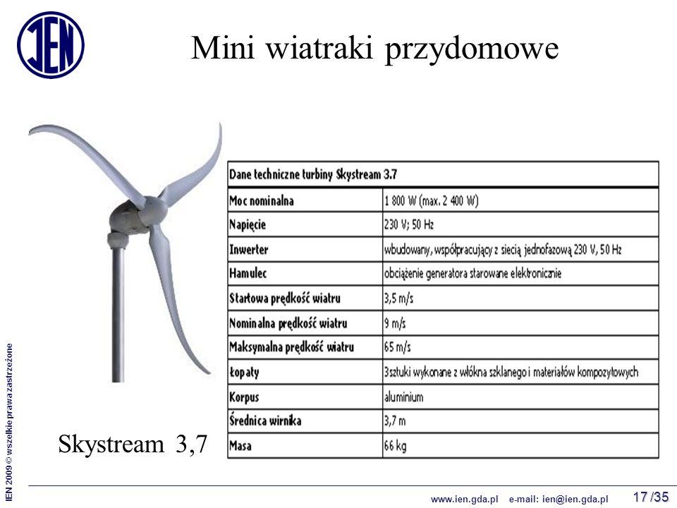/35 IEN 2009 © wszelkie prawa zastrzeżone www.ien.gda.pl e-mail: ien@ien.gda.pl 17 Mini wiatraki przydomowe Skystream 3,7