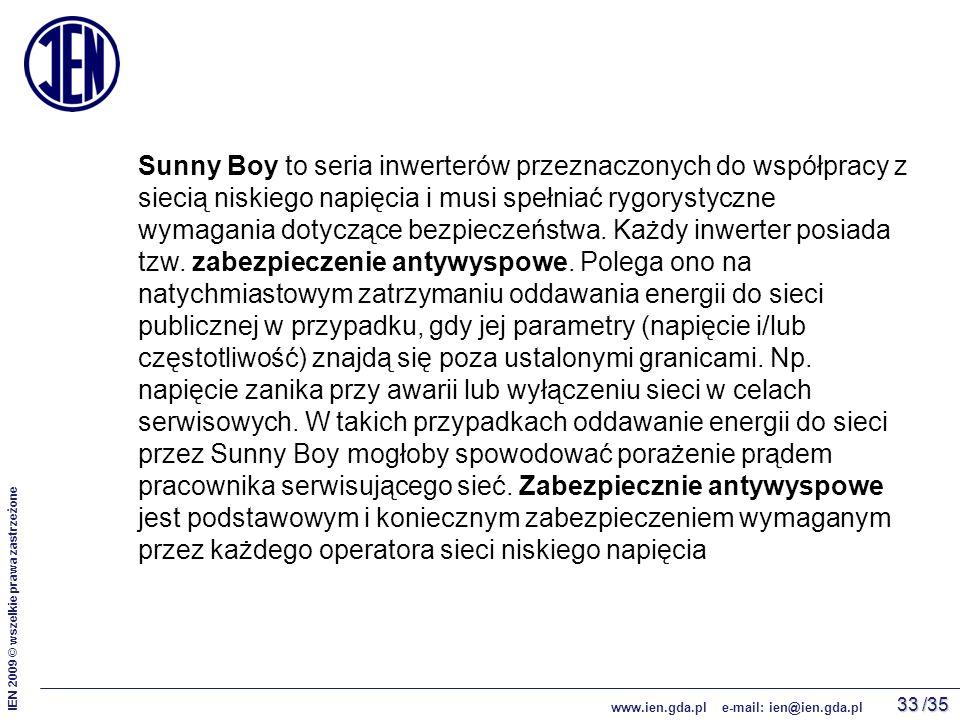 /35 IEN 2009 © wszelkie prawa zastrzeżone www.ien.gda.pl e-mail: ien@ien.gda.pl 33 Sunny Boy to seria inwerterów przeznaczonych do współpracy z siecią niskiego napięcia i musi spełniać rygorystyczne wymagania dotyczące bezpieczeństwa.