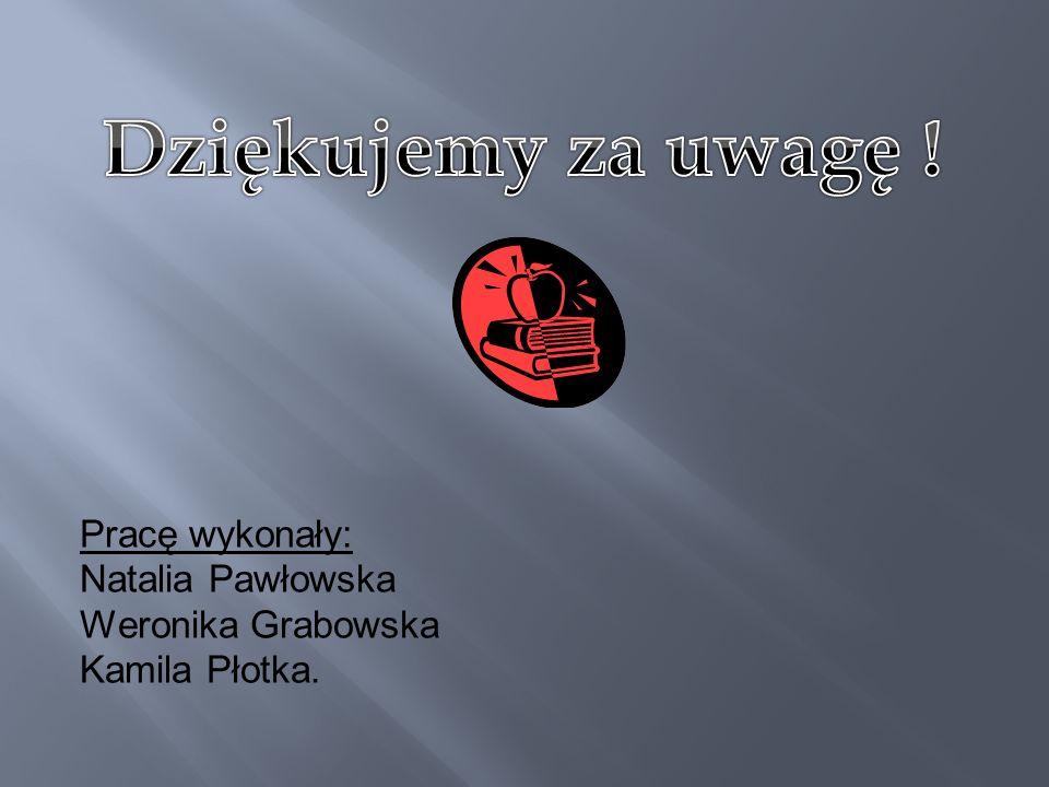 Pracę wykonały: Natalia Pawłowska Weronika Grabowska Kamila Płotka.