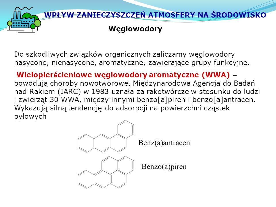 Węglowodory Do szkodliwych związków organicznych zaliczamy węglowodory nasycone, nienasycone, aromatyczne, zawierające grupy funkcyjne.