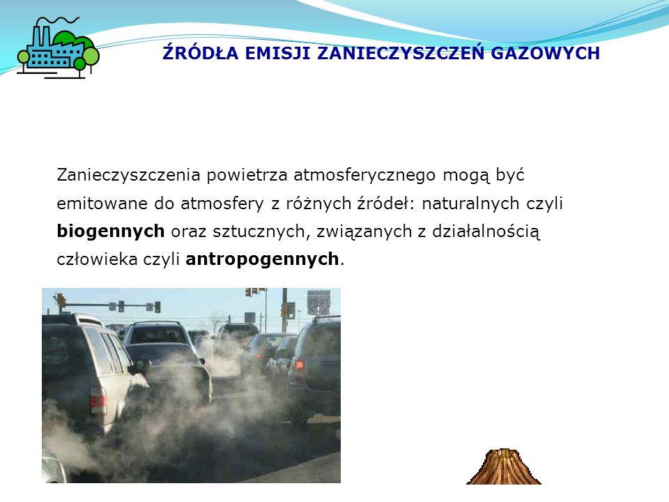ŹRÓDŁA EMISJI ZANIECZYSZCZEŃ GAZOWYCH Zanieczyszczenia powietrza atmosferycznego mogą być emitowane do atmosfery z różnych źródeł: naturalnych czyli biogennych oraz sztucznych, związanych z działalnością człowieka czyli antropogennych.