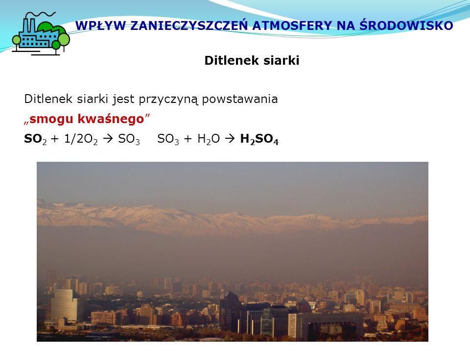 """Ditlenek siarki Ditlenek siarki jest przyczyną powstawania """"smogu kwaśnego SO 2 + 1/2O 2  SO 3 SO 3 + H 2 O  H 2 SO 4 WPŁYW ZANIECZYSZCZEŃ ATMOSFERY NA ŚRODOWISKO"""