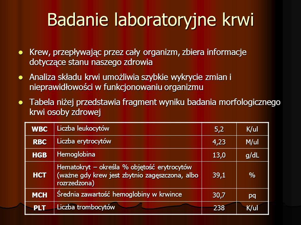 Badanie laboratoryjne krwi Krew, przepływając przez cały organizm, zbiera informacje dotyczące stanu naszego zdrowia Krew, przepływając przez cały organizm, zbiera informacje dotyczące stanu naszego zdrowia Analiza składu krwi umożliwia szybkie wykrycie zmian i nieprawidłowości w funkcjonowaniu organizmu Analiza składu krwi umożliwia szybkie wykrycie zmian i nieprawidłowości w funkcjonowaniu organizmu Tabela niżej przedstawia fragment wyniku badania morfologicznego krwi osoby zdrowej Tabela niżej przedstawia fragment wyniku badania morfologicznego krwi osoby zdrowej WBC Liczba leukocytów 5,2K/ul RBC Liczba erytrocytów 4,23M/ul HGB Hemoglobina 13,0g/dL HCT Hematokryt – określa % objętość erytrocytów (ważne gdy krew jest zbytnio zagęszczona, albo rozrzedzona) 39,1% MCH Średnia zawartość hemoglobiny w krwince 30,7pq PLT Liczba trombocytów 238K/ul