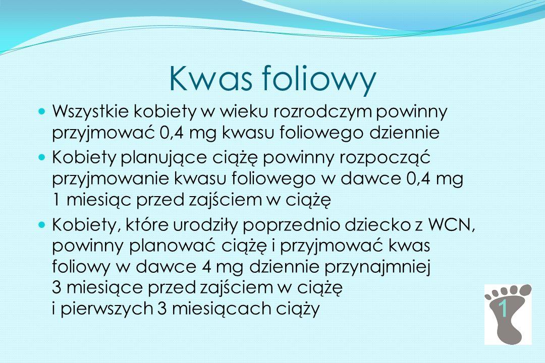Kwas foliowy 1 Wszystkie kobiety w wieku rozrodczym powinny przyjmować 0,4 mg kwasu foliowego dziennie Kobiety planujące ciążę powinny rozpocząć przyj