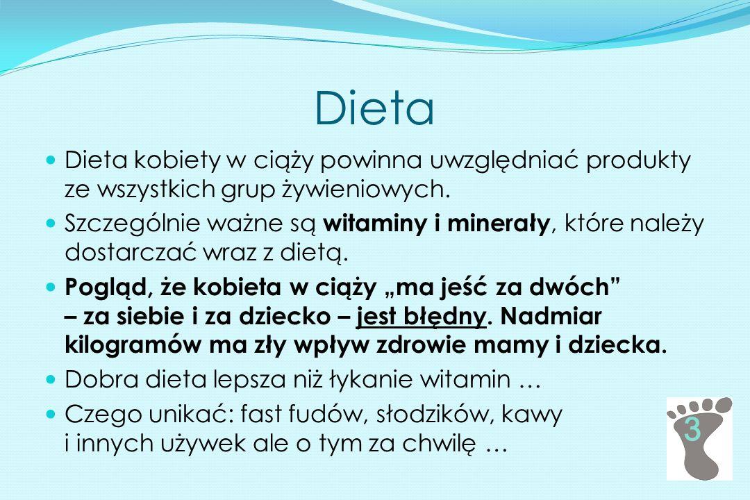 Dieta Dieta kobiety w ciąży powinna uwzględniać produkty ze wszystkich grup żywieniowych. Szczególnie ważne są witaminy i minerały, które należy dosta