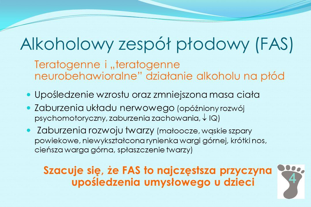 Alkoholowy zespół płodowy (FAS) Upośledzenie wzrostu oraz zmniejszona masa ciała Zaburzenia układu nerwowego (opóźniony rozwój psychomotoryczny, zabur