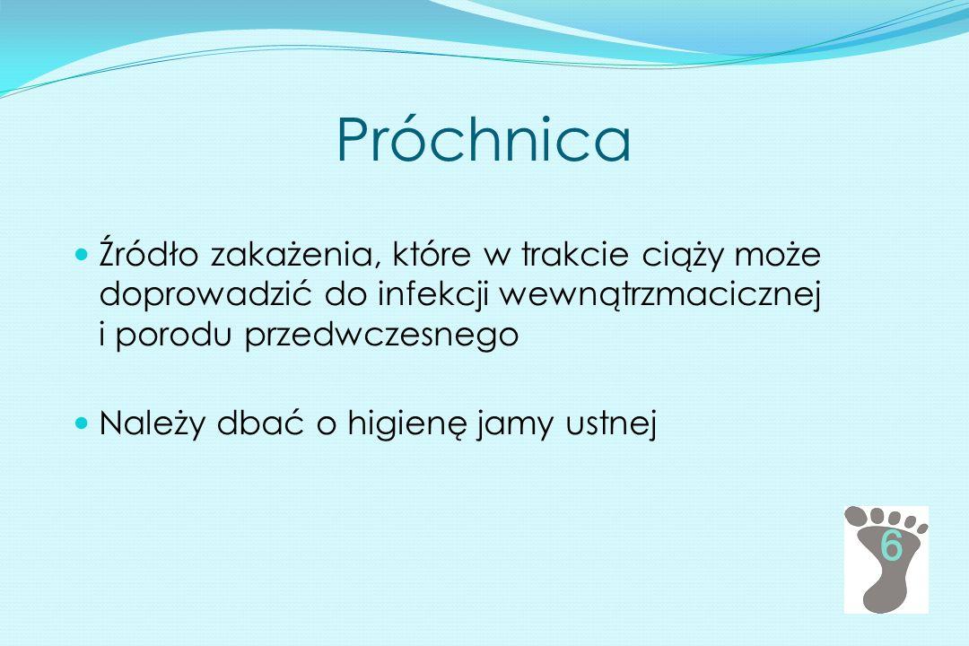 Próchnica Źródło zakażenia, które w trakcie ciąży może doprowadzić do infekcji wewnątrzmacicznej i porodu przedwczesnego Należy dbać o higienę jamy us