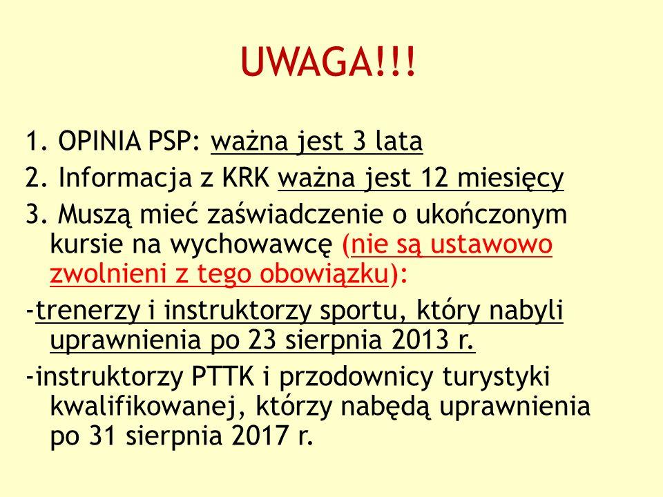 UWAGA!!. 1. OPINIA PSP: ważna jest 3 lata 2. Informacja z KRK ważna jest 12 miesięcy 3.