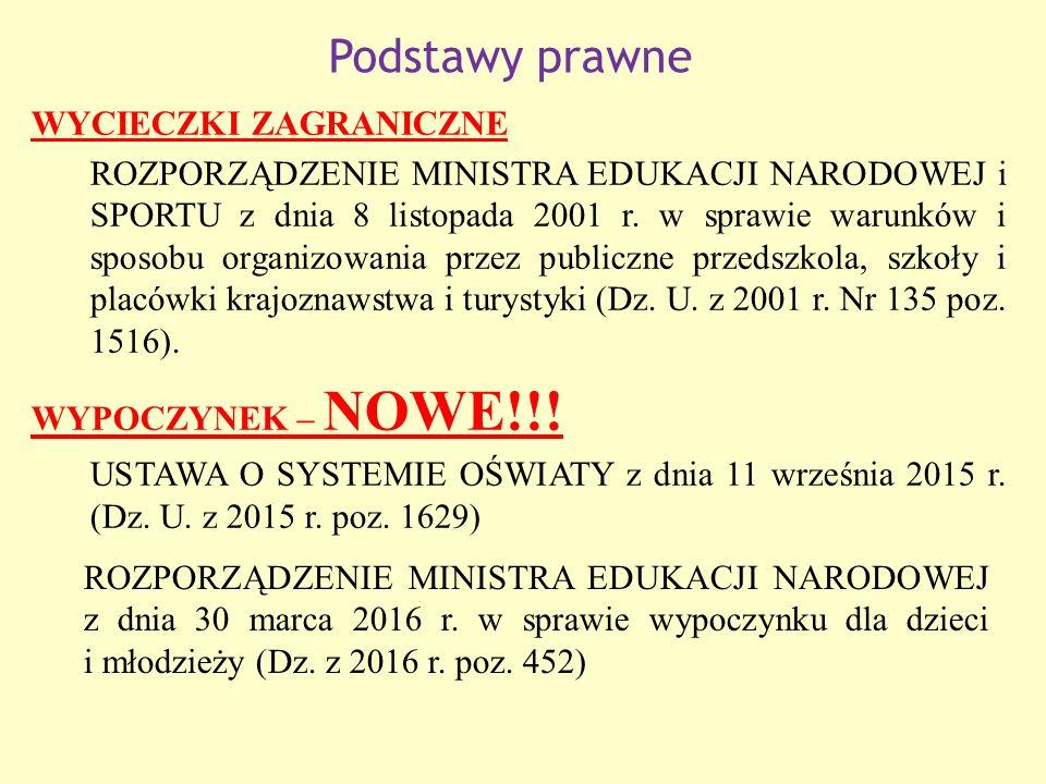 Podstawy prawne WYCIECZKI ZAGRANICZNE ROZPORZĄDZENIE MINISTRA EDUKACJI NARODOWEJ i SPORTU z dnia 8 listopada 2001 r.