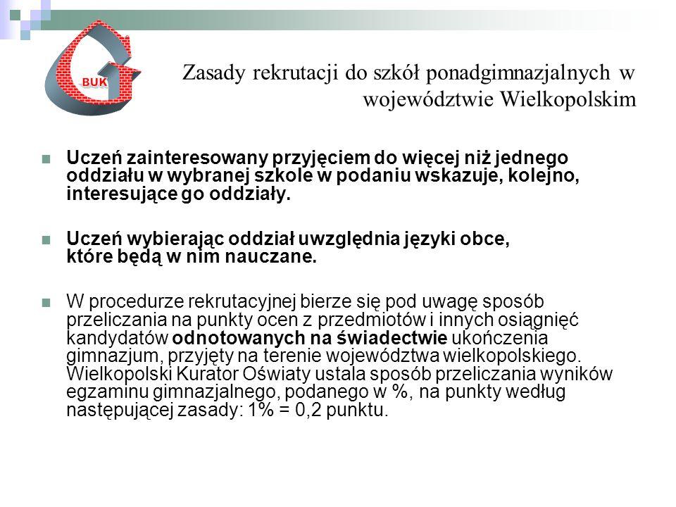 Zasady rekrutacji do szkół ponadgimnazjalnych w województwie Wielkopolskim Uczeń zainteresowany przyjęciem do więcej niż jednego oddziału w wybranej szkole w podaniu wskazuje, kolejno, interesujące go oddziały.