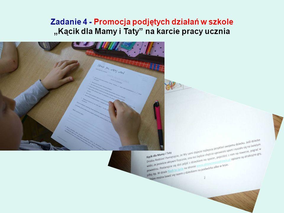 """Zadanie 4 - Promocja podjętych działań w szkole Przedstawienie """"Aktywnie po zdrowie dla dzieci z przedszkola i uczniów klas I-III"""