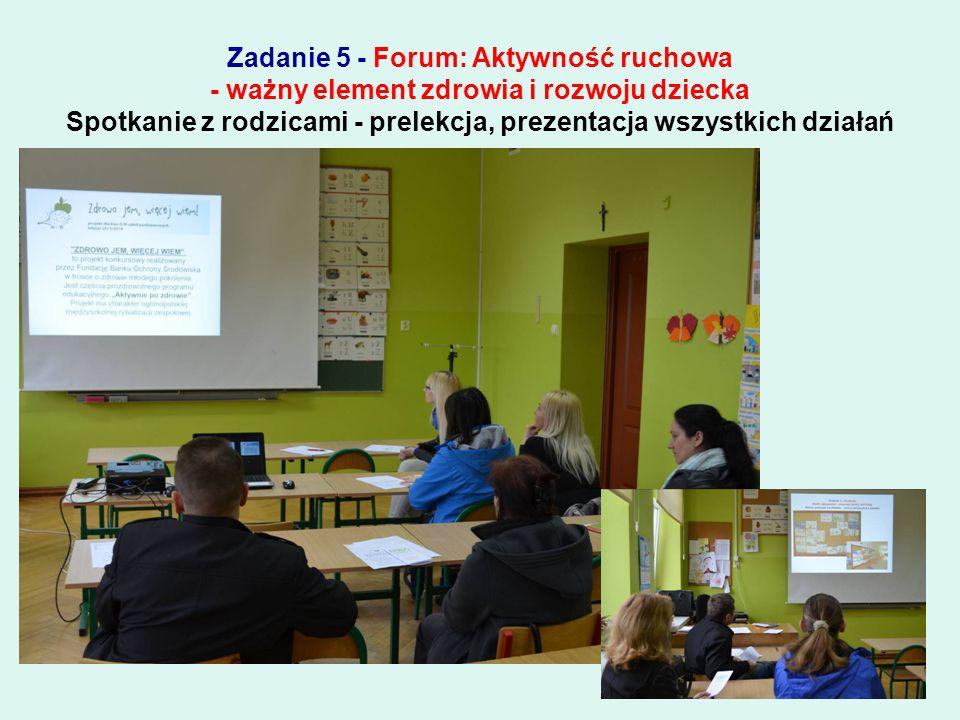 Zadanie 5 - Forum: Aktywność ruchowa - ważny element zdrowia i rozwoju dziecka Ulotki przekazane rodzicom podczas prelekcji