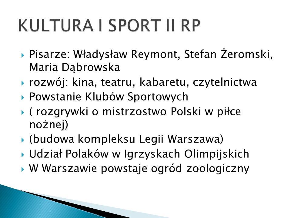  Pisarze: Władysław Reymont, Stefan Żeromski, Maria Dąbrowska  rozwój: kina, teatru, kabaretu, czytelnictwa  Powstanie Klubów Sportowych  ( rozgry