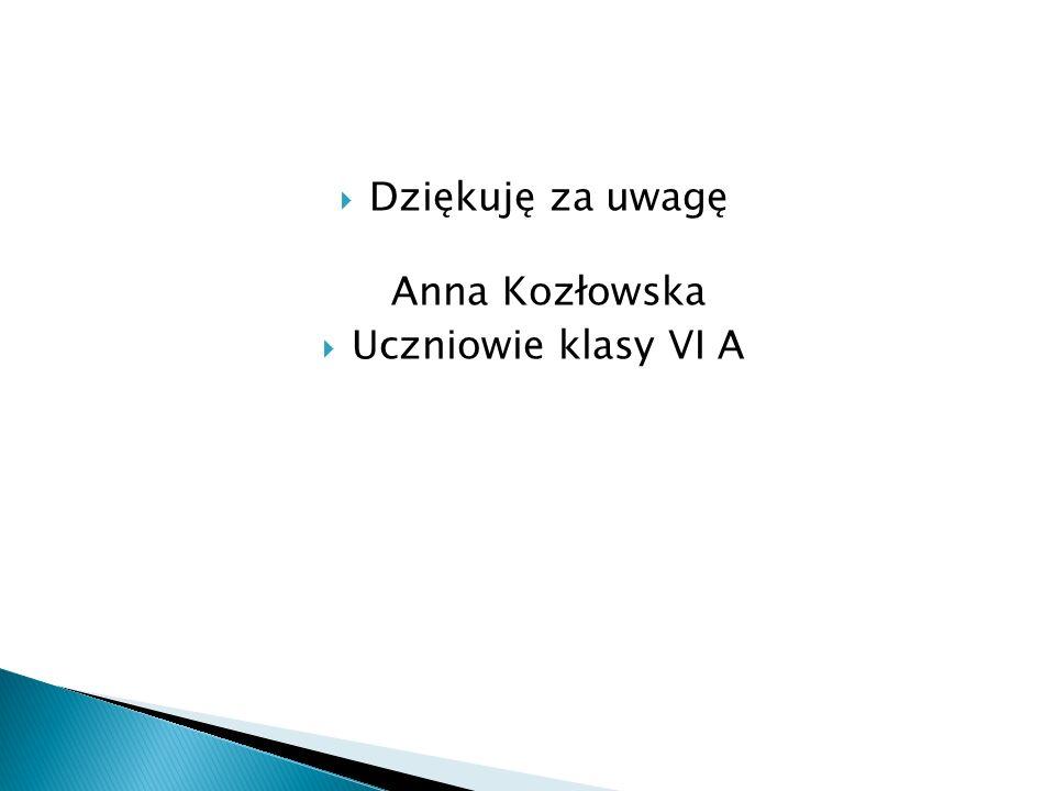  Dziękuję za uwagę Anna Kozłowska  Uczniowie klasy VI A