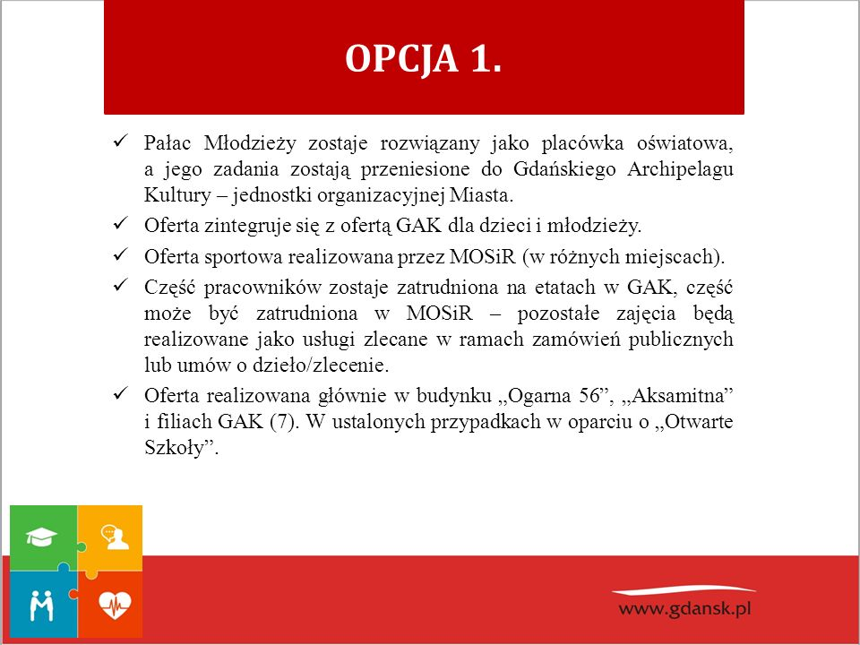 OPCJA 1. Pałac Młodzieży zostaje rozwiązany jako placówka oświatowa, a jego zadania zostają przeniesione do Gdańskiego Archipelagu Kultury – jednostki