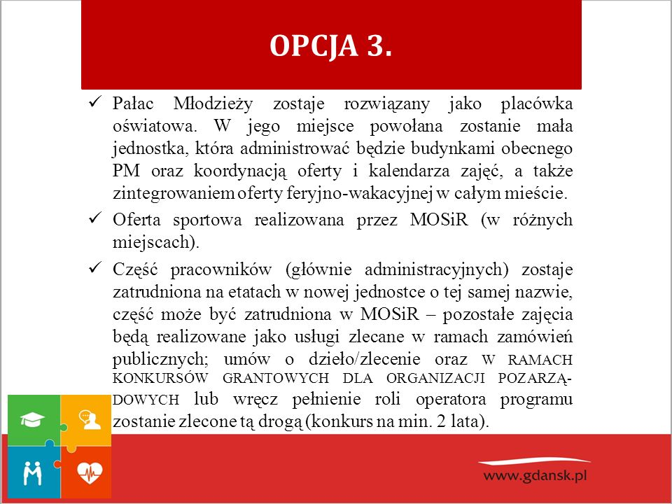 OPCJA 3. Pałac Młodzieży zostaje rozwiązany jako placówka oświatowa. W jego miejsce powołana zostanie mała jednostka, która administrować będzie budyn