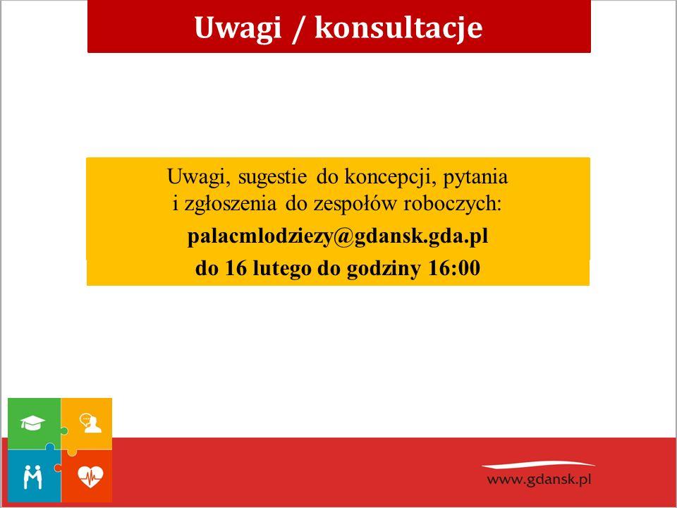 Uwagi, sugestie do koncepcji, pytania i zgłoszenia do zespołów roboczych: palacmlodziezy@gdansk.gda.pl do 16 lutego do godziny 16:00 Uwagi / konsultac