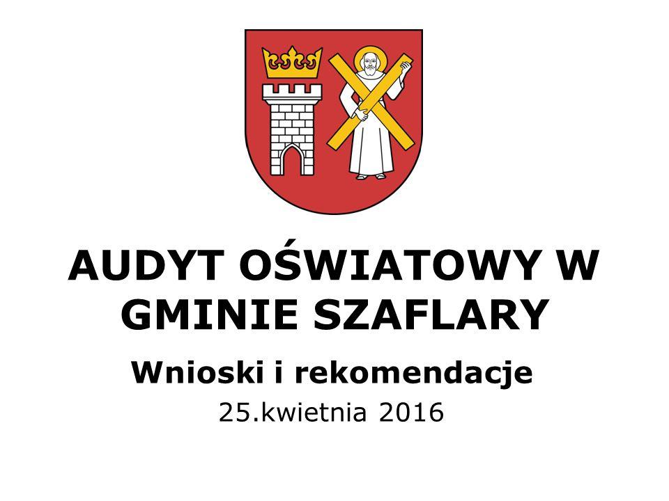 AUDYT OŚWIATOWY W GMINIE SZAFLARY Wnioski i rekomendacje 25.kwietnia 2016
