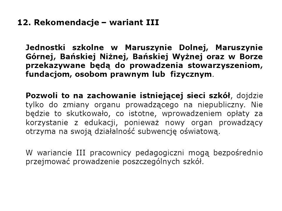 12. Rekomendacje – wariant III Jednostki szkolne w Maruszynie Dolnej, Maruszynie Górnej, Bańskiej Niżnej, Bańskiej Wyżnej oraz w Borze przekazywane bę
