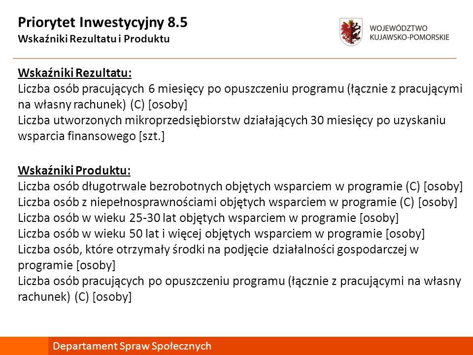 Priorytet Inwestycyjny 8.5 Wskaźniki Rezultatu i Produktu Wskaźniki Rezultatu: Liczba osób pracujących 6 miesięcy po opuszczeniu programu (łącznie z p