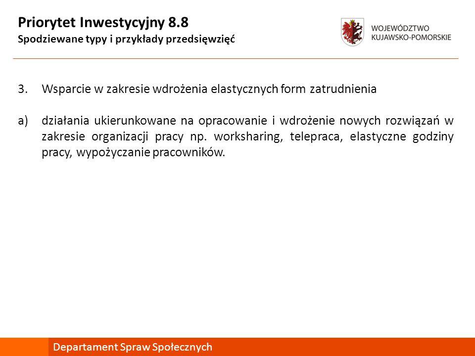Priorytet Inwestycyjny 8.8 Spodziewane typy i przykłady przedsięwzięć 3.Wsparcie w zakresie wdrożenia elastycznych form zatrudnienia a)działania ukier