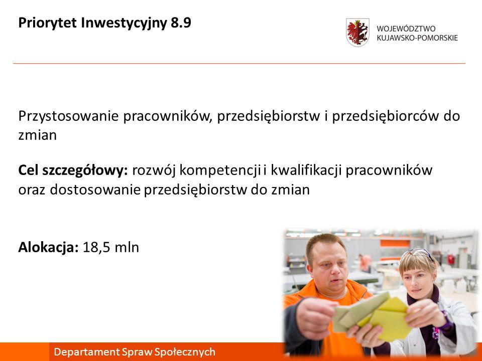 Priorytet Inwestycyjny 8.9 Przystosowanie pracowników, przedsiębiorstw i przedsiębiorców do zmian Cel szczegółowy: rozwój kompetencji i kwalifikacji pracowników oraz dostosowanie przedsiębiorstw do zmian Alokacja: 18,5 mln Departament Spraw Społecznych