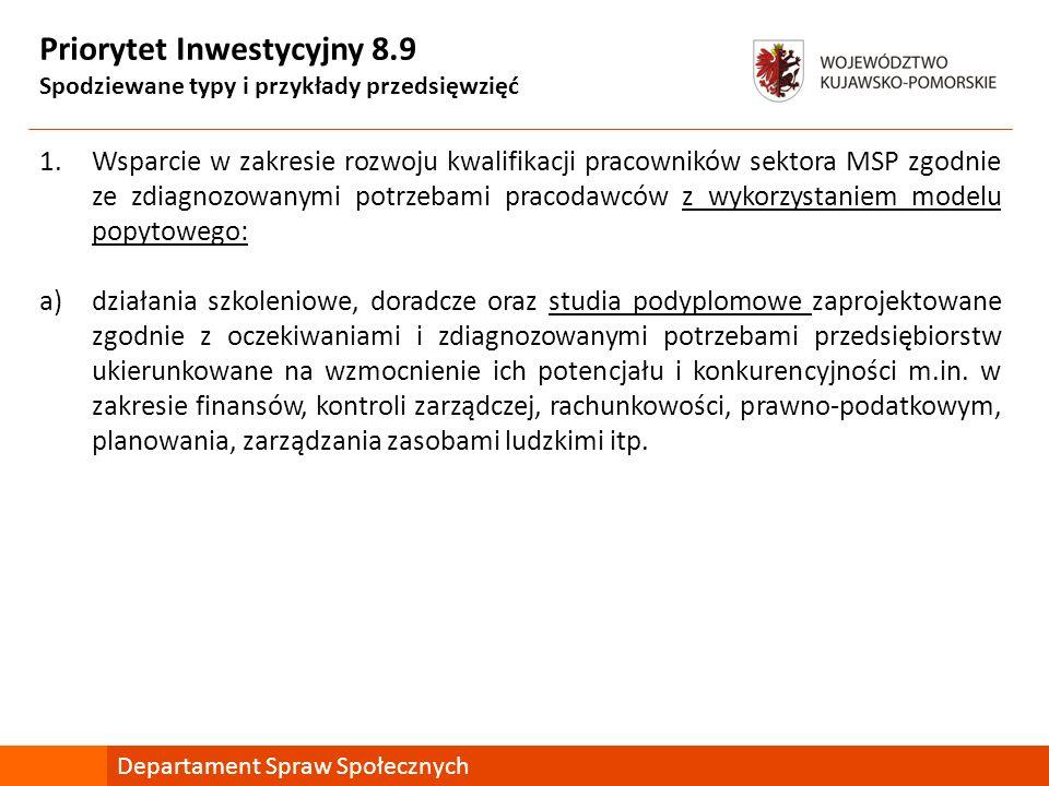 Priorytet Inwestycyjny 8.9 Spodziewane typy i przykłady przedsięwzięć 1.Wsparcie w zakresie rozwoju kwalifikacji pracowników sektora MSP zgodnie ze zd