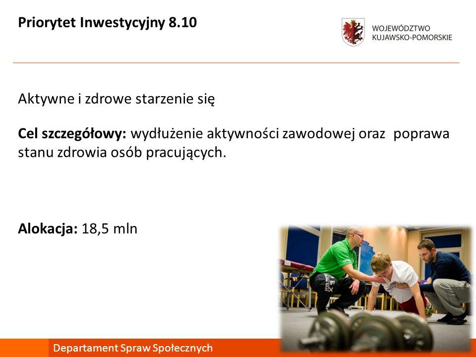 Priorytet Inwestycyjny 8.10 Aktywne i zdrowe starzenie się Cel szczegółowy: wydłużenie aktywności zawodowej oraz poprawa stanu zdrowia osób pracującyc