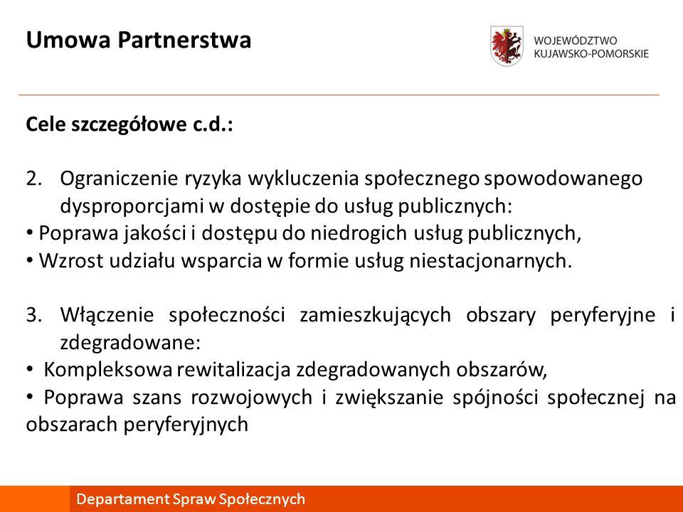 Umowa Partnerstwa Cele szczegółowe c.d.: 2.Ograniczenie ryzyka wykluczenia społecznego spowodowanego dysproporcjami w dostępie do usług publicznych: Poprawa jakości i dostępu do niedrogich usług publicznych, Wzrost udziału wsparcia w formie usług niestacjonarnych.