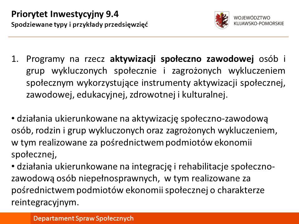 Priorytet Inwestycyjny 9.4 Spodziewane typy i przykłady przedsięwzięć 1.Programy na rzecz aktywizacji społeczno zawodowej osób i grup wykluczonych spo
