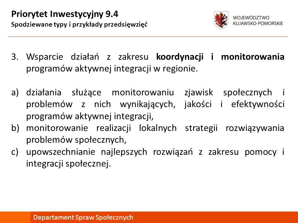 Priorytet Inwestycyjny 9.4 Spodziewane typy i przykłady przedsięwzięć 3.Wsparcie działań z zakresu koordynacji i monitorowania programów aktywnej integracji w regionie.