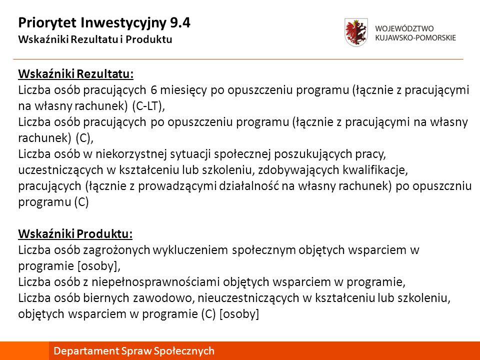 Priorytet Inwestycyjny 9.4 Wskaźniki Rezultatu i Produktu Wskaźniki Rezultatu: Liczba osób pracujących 6 miesięcy po opuszczeniu programu (łącznie z p