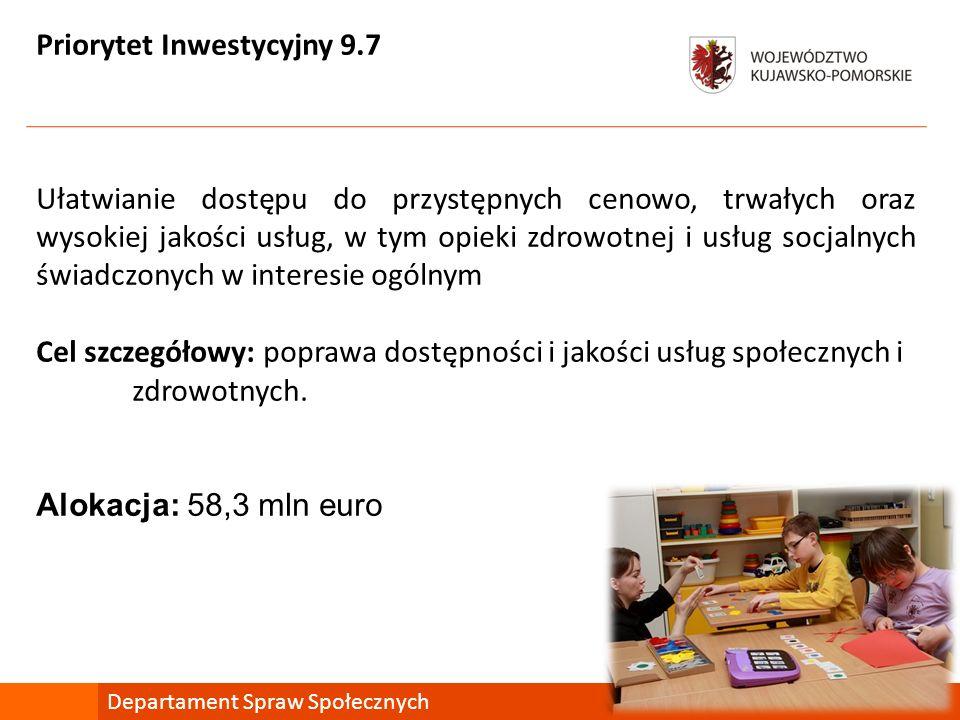 Priorytet Inwestycyjny 9.7 Ułatwianie dostępu do przystępnych cenowo, trwałych oraz wysokiej jakości usług, w tym opieki zdrowotnej i usług socjalnych
