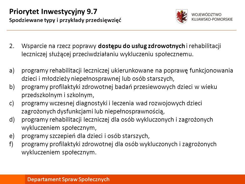 Priorytet Inwestycyjny 9.7 Spodziewane typy i przykłady przedsięwzięć 2.Wsparcie na rzecz poprawy dostępu do usług zdrowotnych i rehabilitacji lecznic