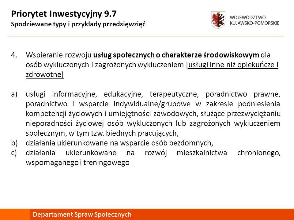 Priorytet Inwestycyjny 9.7 Spodziewane typy i przykłady przedsięwzięć 4.Wspieranie rozwoju usług społecznych o charakterze środowiskowym dla osób wykluczonych i zagrożonych wykluczeniem [usługi inne niż opiekuńcze i zdrowotne] a)usługi informacyjne, edukacyjne, terapeutyczne, poradnictwo prawne, poradnictwo i wsparcie indywidualne/grupowe w zakresie podniesienia kompetencji życiowych i umiejętności zawodowych, służące przezwyciężaniu nieporadności życiowej osób wykluczonych lub zagrożonych wykluczeniem społecznym, w tym tzw.