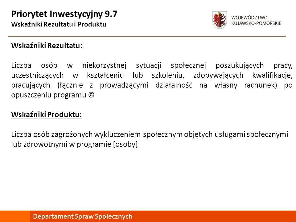 Priorytet Inwestycyjny 9.7 Wskaźniki Rezultatu i Produktu Wskaźniki Rezultatu: Liczba osób w niekorzystnej sytuacji społecznej poszukujących pracy, uc