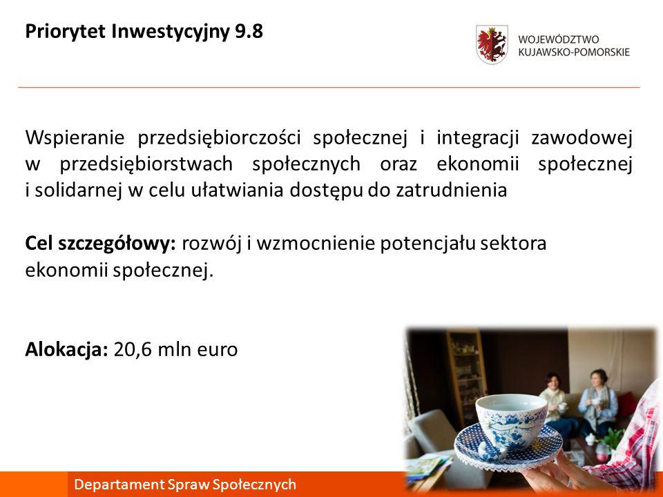 Priorytet Inwestycyjny 9.8 Wspieranie przedsiębiorczości społecznej i integracji zawodowej w przedsiębiorstwach społecznych oraz ekonomii społecznej i