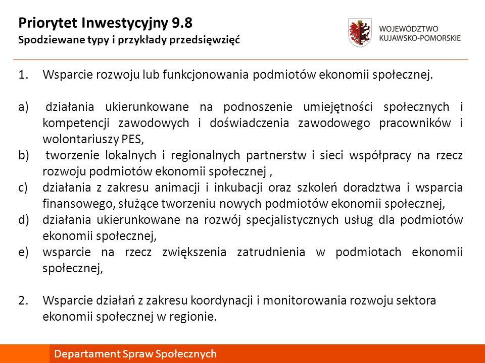 Priorytet Inwestycyjny 9.8 Spodziewane typy i przykłady przedsięwzięć 1.Wsparcie rozwoju lub funkcjonowania podmiotów ekonomii społecznej. a) działani