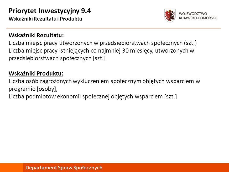 Priorytet Inwestycyjny 9.4 Wskaźniki Rezultatu i Produktu Wskaźniki Rezultatu: Liczba miejsc pracy utworzonych w przedsiębiorstwach społecznych (szt.)