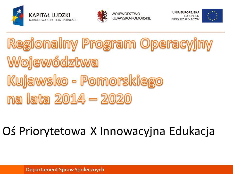 Oś Priorytetowa X Innowacyjna Edukacja Departament Spraw Społecznych