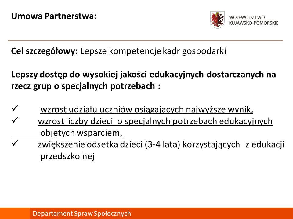 Umowa Partnerstwa: Cel szczegółowy: Lepsze kompetencje kadr gospodarki Lepszy dostęp do wysokiej jakości edukacyjnych dostarczanych na rzecz grup o sp