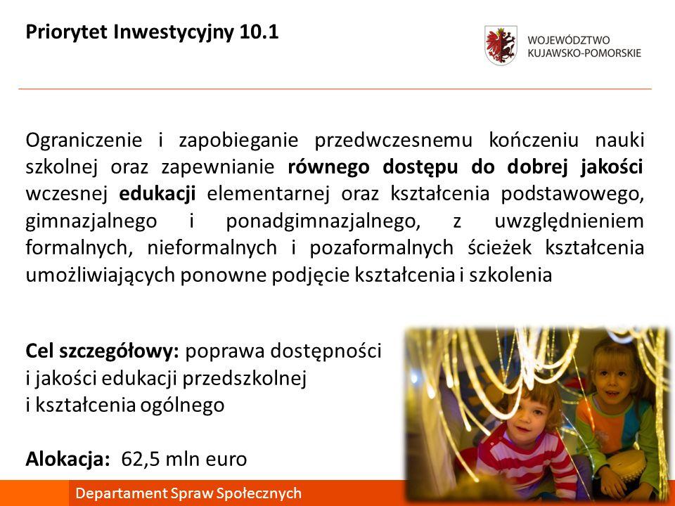 Priorytet Inwestycyjny 10.1 Ograniczenie i zapobieganie przedwczesnemu kończeniu nauki szkolnej oraz zapewnianie równego dostępu do dobrej jakości wcz