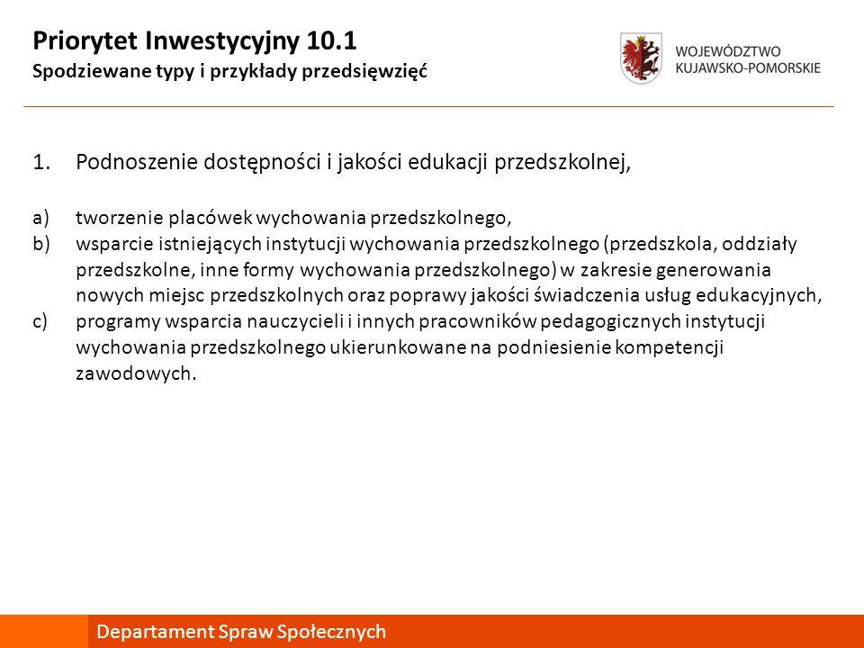 Priorytet Inwestycyjny 10.1 Spodziewane typy i przykłady przedsięwzięć 1.Podnoszenie dostępności i jakości edukacji przedszkolnej, a)tworzenie placówe