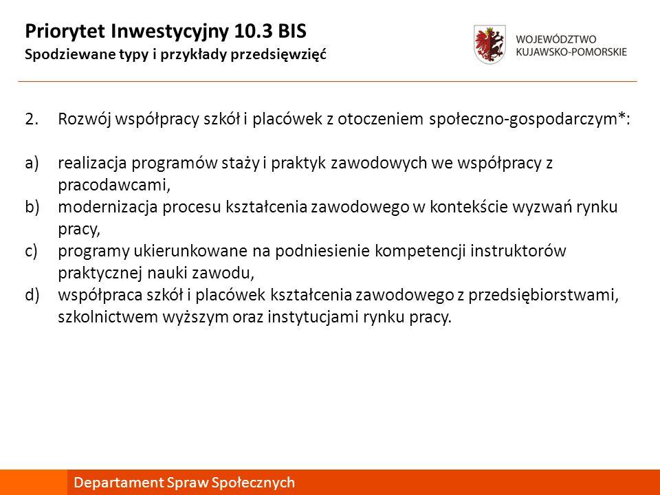 Priorytet Inwestycyjny 10.3 BIS Spodziewane typy i przykłady przedsięwzięć 2.Rozwój współpracy szkół i placówek z otoczeniem społeczno-gospodarczym*: